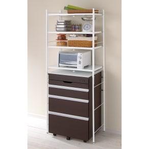 ゴミ箱の上もキッチン収納 幅伸縮キッチンラック 棚4段 幅47.5~70cm