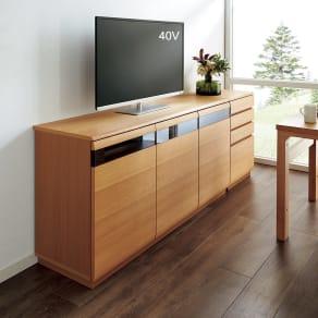オーク材アールデザインリビングシリーズ テレビ台ハイ 幅150cm