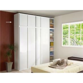光沢仕様 引き戸壁面収納本棚 幅90奥行40突っ張り上置き高さ55~70(本体52)cm