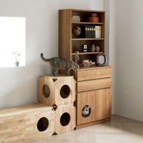 ネコ用トイレやベッドを置けるスペース付き リビング収納庫 幅75.5cm奥行45.5cm高さ180cm