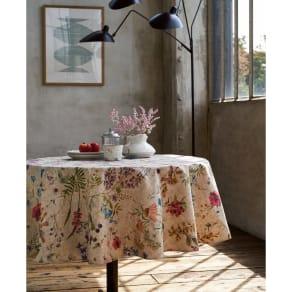 スペイン製リネン調はっ水テーブルクロス〈ボタニコ〉 円形 径約150cm