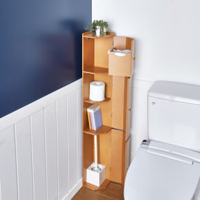 こだわりトイレの木製コーナーラック 上部ゴミ箱付き 高さ120cm