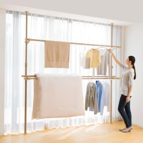 取り付け簡単 窓枠突っ張り物干し 伸縮竿 3本付き