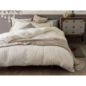 オールシルクサテン織りシーツ&カバー 掛けカバー ホワイト ダブルロング