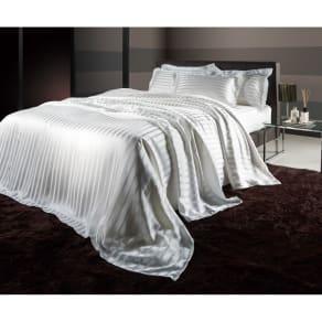 オールシルクサテン織りシーツ&カバー マルチシーツ ホワイト ダブル