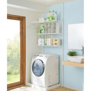 防水パンや梁があっても置ける。省スペース洗濯機ラック 棚3段