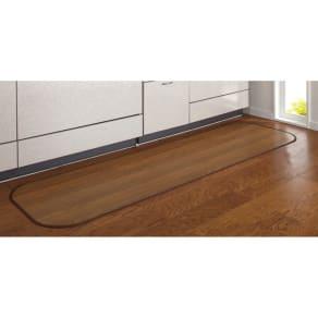 幅約60×丈約90cm (消臭加工フローリング調 キッチンマット)