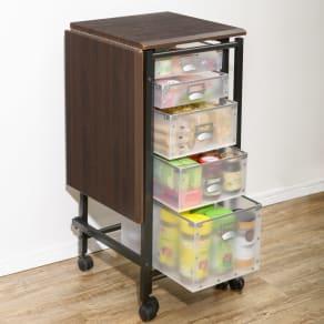 広がる調理台付き 多段キッチンストッカー 幅42cm(天板伸長時 幅80cm)