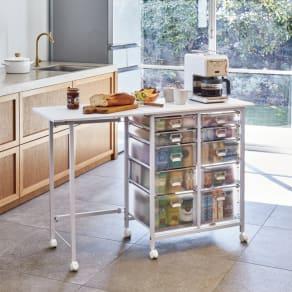 広がる調理台付き 多段キッチンストッカー 幅72cm(天板伸長時 幅110cm)