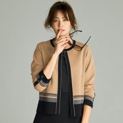 ミラノリブ配色 ニットシリーズ ニットジャケット