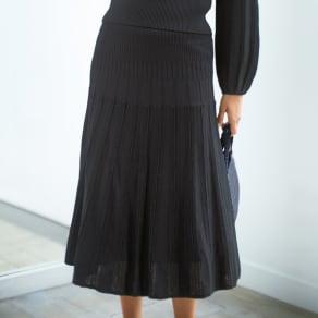 リップル×透かし編みプリーツ風 ニットシリーズ スカート