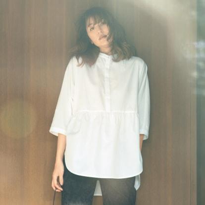 防汚素材 バンドカラー ドルマンワイドシャツ