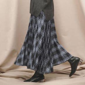 先染めチェック柄 ロング プリーツスカート