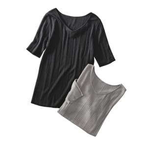 UVカット シルク 五分袖 プルオーバー