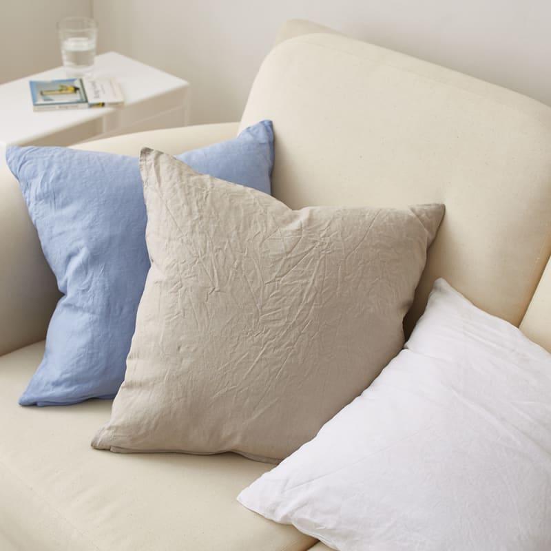 French Linen クッションカバー同色2枚組(グレーベージュ/ホワイト/ベージュ/ライトブルー/ブルー)
