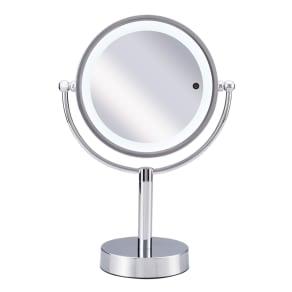 3色調光LED照明付き拡大鏡 小型 (ライト付き 卓上ミラー)