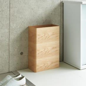 曲木の薄型ダストボックス ロー
