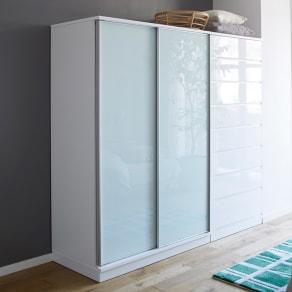 Milath/ミラス スライドワードローブ ガラス扉タイプ 幅120.5cm