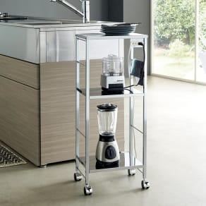 ステンレス天板キッチン作業台 コンセント付き作業台 幅36.5cm