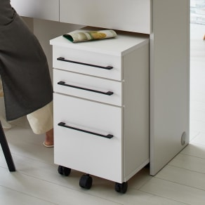 Ruffalo/ラファロ 間仕切りキッチンカウンター用チェストワゴン 幅37cm奥行37cm高さ64cm