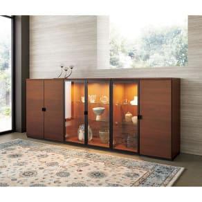 Sorrento/ソレント リビングキャビネット 幅76高さ95cm ガラス扉 LED照明付き