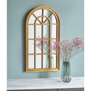 ゴールド Window Style/ウィンドウスタイル 壁掛けミラー・ウォールミラー 幅46.5cm高さ86.5cm