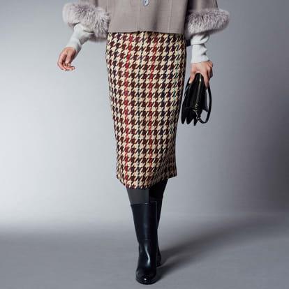 イタリア素材 千鳥格子柄 ツイード ロングタイトスカート