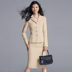 イタリア素材 ラメツイード スーツセット(ジャケット+スカート)