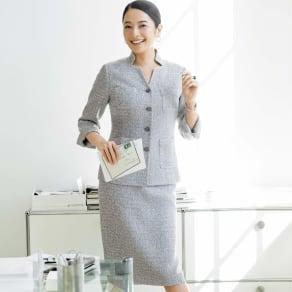 フェルラ社 リネン混 からみ織り スーツセット(ジャケット+スカート)