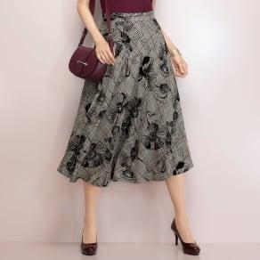 イタリア素材 ウール混 ガーゼ フロッキープリント チェック柄 スカート