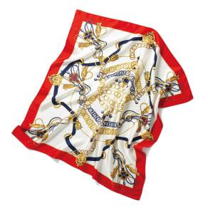 シルクツイル チェーン柄プリント スカーフ