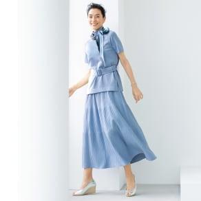 イタリア糸ニット セットアップ(ベルト付きプルオーバー+イレギュラーリブフレアースカート)