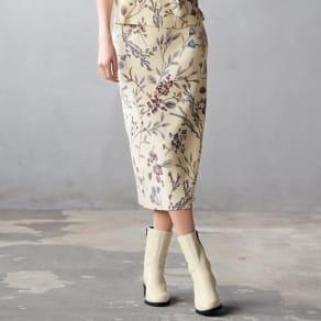 コットンスムース編み ボタニカルプリント スカート