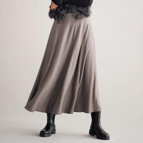 ウールジャージー ロングフレアースカート