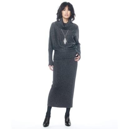 イタリア糸 ラメ入り ウール混ニット セットアップ(プルオーバー+スカート)