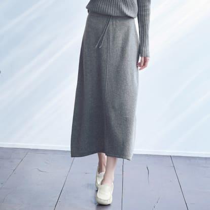 カシミヤ 天竺編み Aライン スカート
