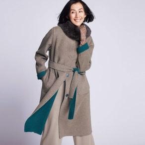 ブルーフォックスファー付き イタリア素材 リバーシブル コート