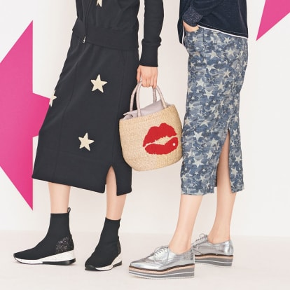フランス素材 星柄ラメジャカードスカート