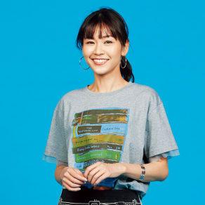 チュール使い アートプリント Tシャツ