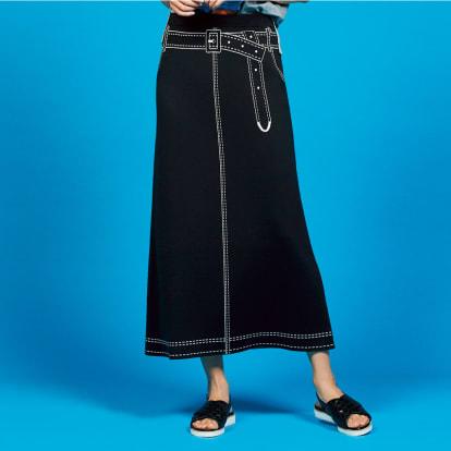 トロンプルイユ(だまし絵) リバーシブル ニットスカート