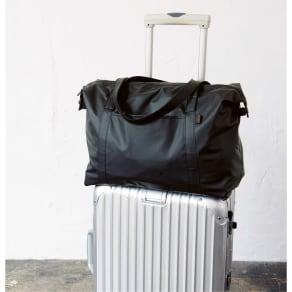 ヤマト屋 キャリーカートにかけられるボストンバッグ1~2泊用 オールブラック(黒無地)