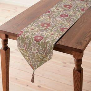 約30×180cm モリスデザインスタジオ ジャカード織テーブルランナー〈ピンク&ローズ〉