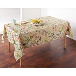 スペイン製リネン調はっ水テーブルクロス〈ボタニコ〉約150×150cm