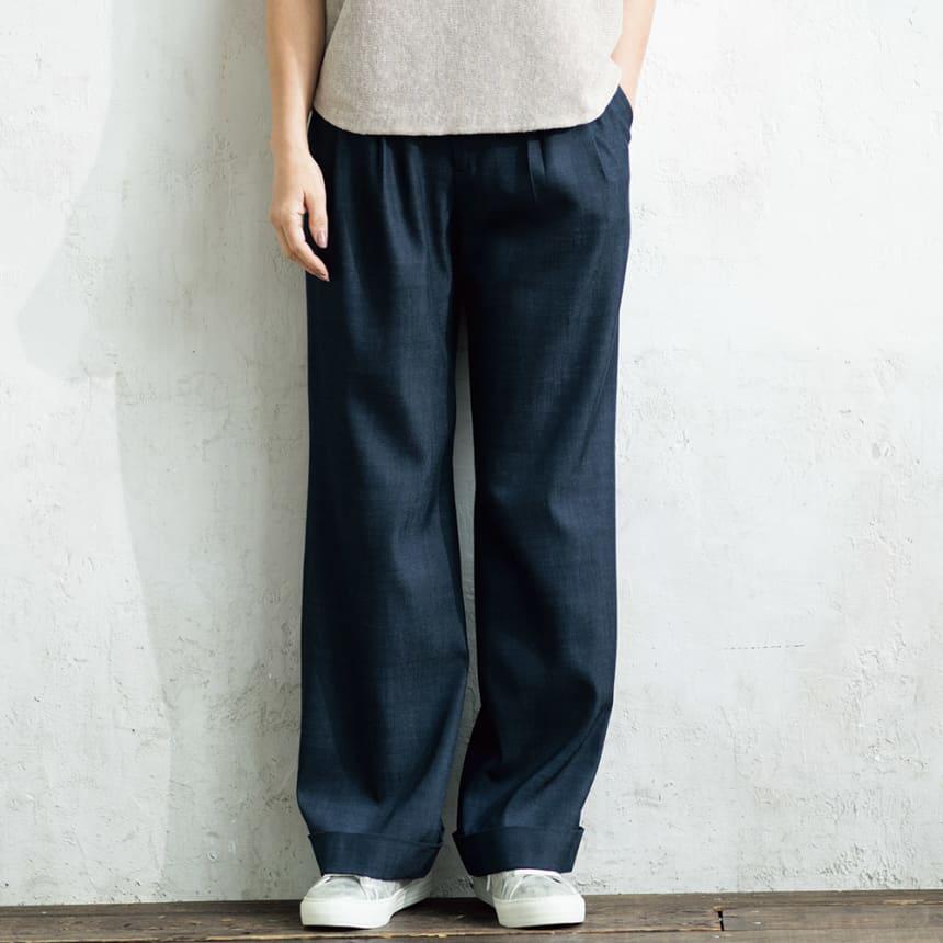 【股下丈72cm】 とろみ素材 デニムライク タックパンツ