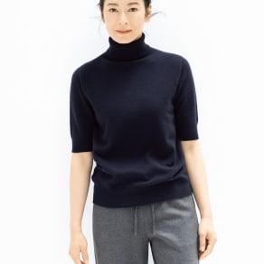 「BABY CASHMERE TOYOBOSHI(R)」 カシミヤ タートルネック 半袖 プルオーバー