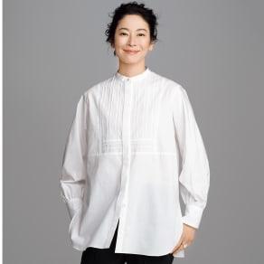 ピンタックブザムデザイン バンドカラーロングシャツ
