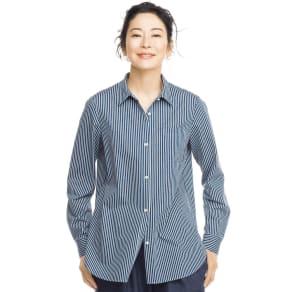 布帛見えする ストライプジャージーシャツ