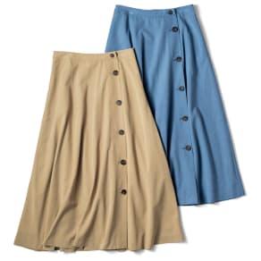 ボタンデザイン ラップ風 フレアスカート
