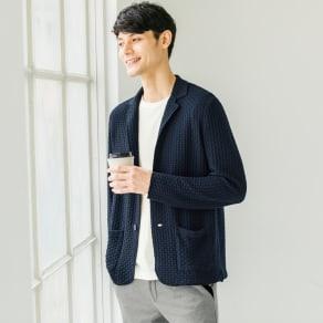 「GIM」 ワッフル編みニットジャケット