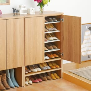 靴が出し入れしやすい下段オープンシューズボックス ミドル・幅75.5cm